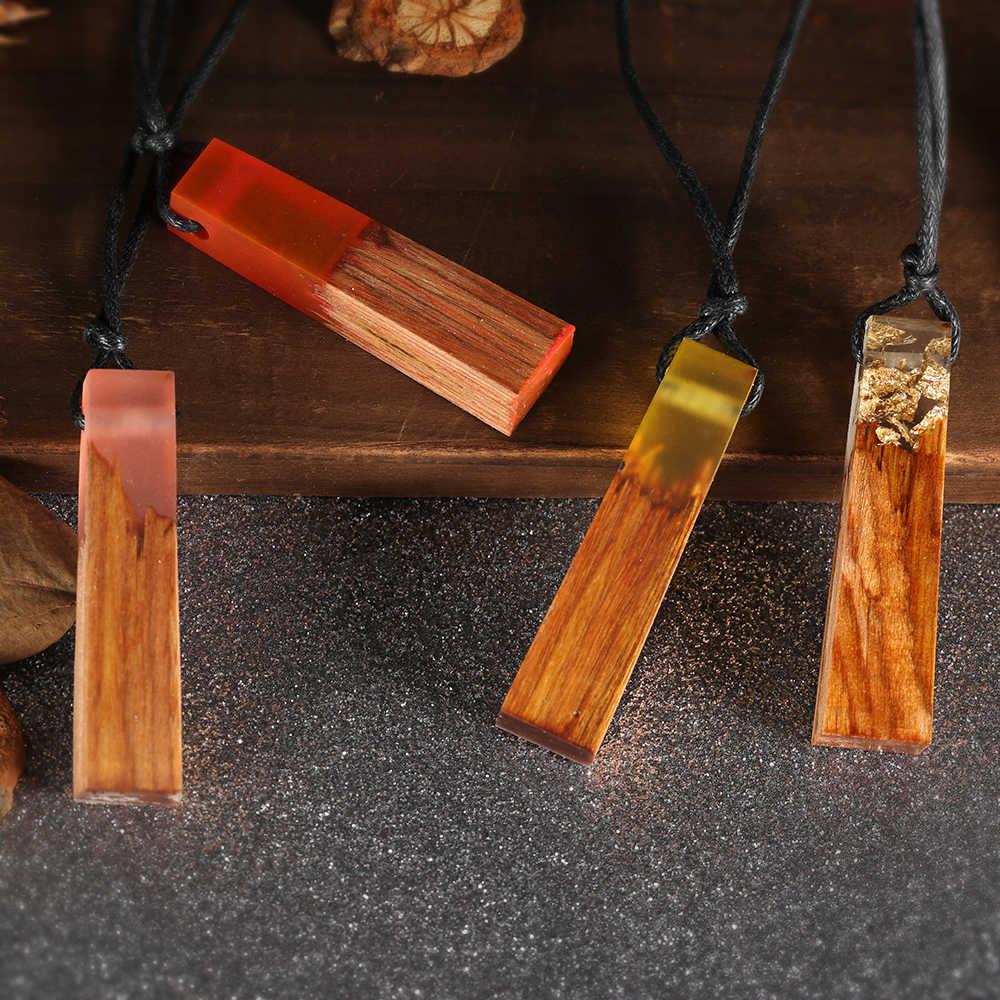 Pintura hecha a mano tinta resina madera colgante collar mujeres hombres larga cuerda suéter cadena collar de madera colgantes joyería S3