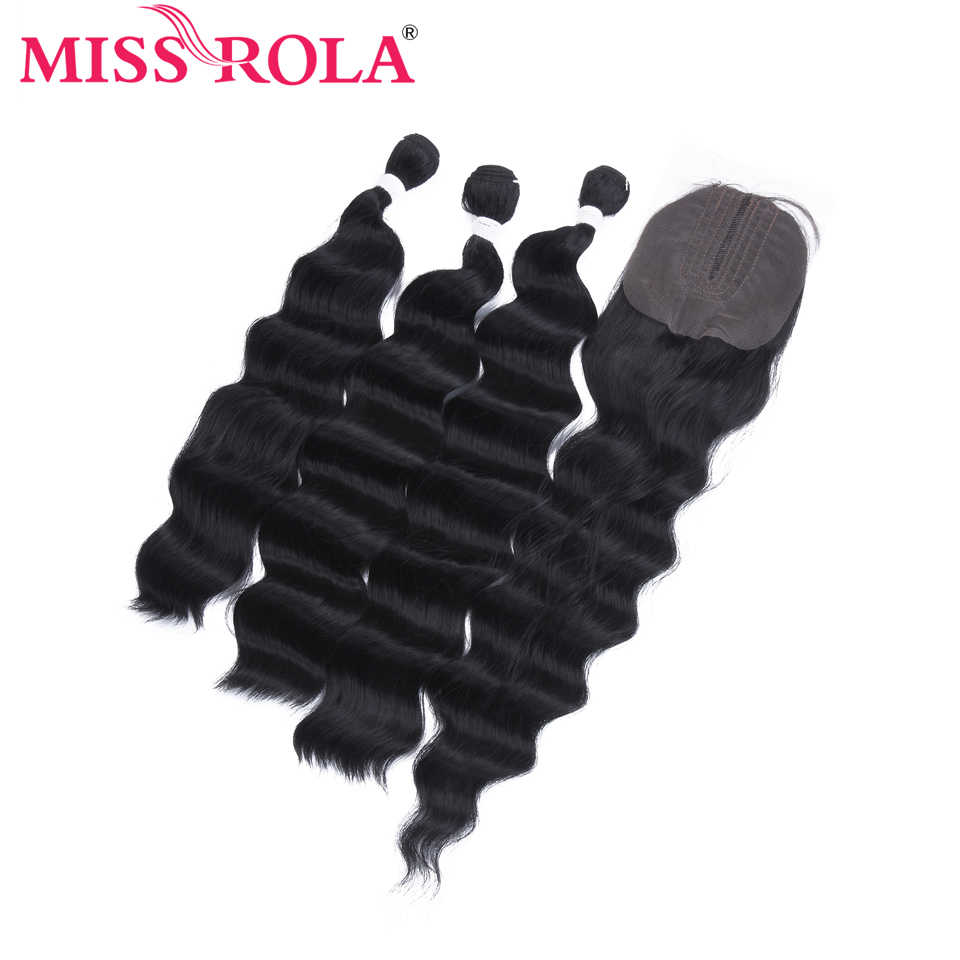 Miss Rola Deep Wave Bundles With Lace Closure Synthetic Hair Closure With Bundles 16-20 Inches Double Weft Weave Extension