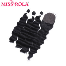 Miss Rola Deep Wave Bundles With Lace Closure Synthetic Hair Closure With Bundles 16-20 Inches Double Weft Weave Extension(China)