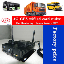 4g mdvr gps mobile wifi with remote and positioning Real time video surveillance car/bus 4ch double sd card mdvr