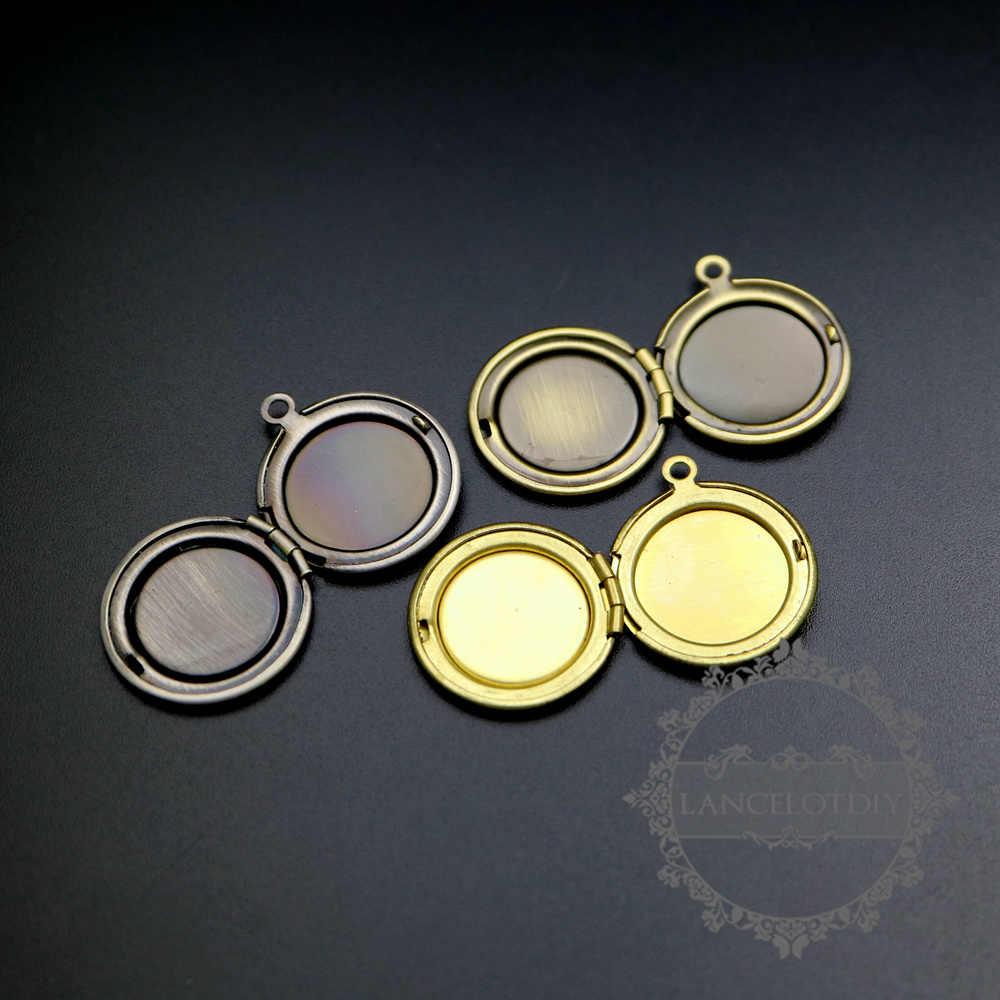 14 мм установочный ободок Винтажный стиль сырой латуни, бронза, старинные серебряные круглые пустые фото медальон Лоток Подвески ручная работа поставки 1111055