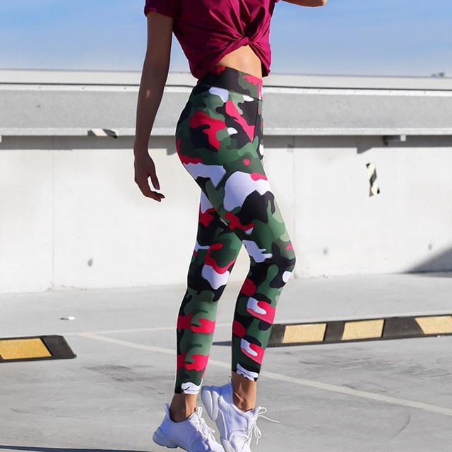 Ins Hot Fashion Workout Leggings For Women High Waist Push Up Legging Camouflage Printed Female Fitness Pants Casual Trousers 4