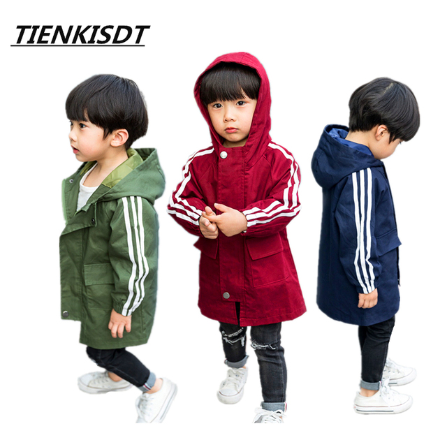 9d5ec6894 Tiny Cottons Solid Hooded Long Jacket Coat Juventus Boys Trench ...