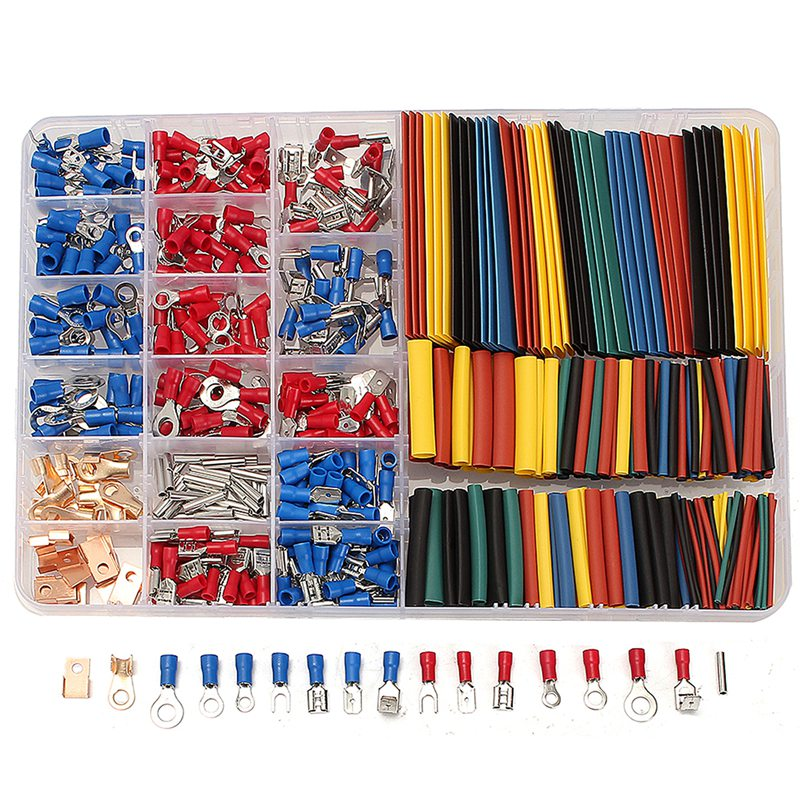 New 350 PCS/Lot Crimp Terminals 2:1 Heat Shrink Tube Assorted Connectors Box Kit Electrical Equipment Supplies