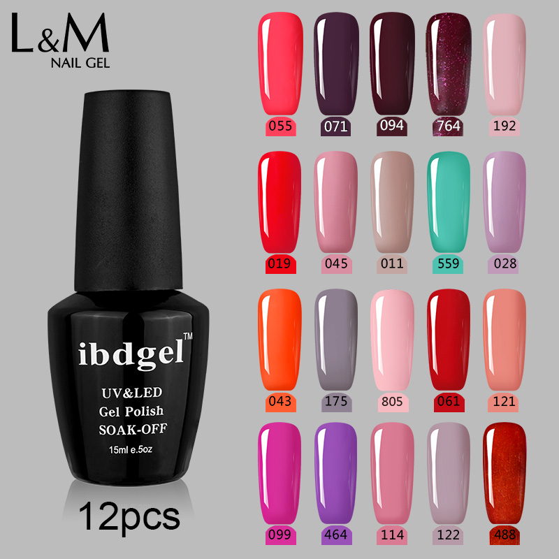 Φ_ΦBlack 12 Bottle ibdgel Nail Glitter Shining Nude Color UV Gel ...