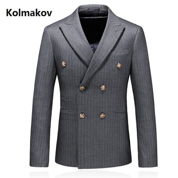 2019 new arrival high quality casual Double-breasted blazer men,men's suits jackets ,casual stripe blazers men plus-size S-5XL