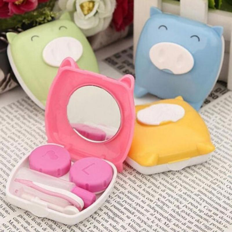 2018 candy color cute cartoon piggy shape contact lenses box good partner for contact lens wearers eyewear accessories