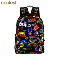Rock Band The Beatles ACDC Iron Maiden Metallica Backpack High Quality Oxford School Bags For Teenager