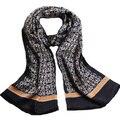 Baratos lenços de seda Lenços De Fourrure Puro Lenço De Seda Bandanas Longo Impressão Floral Preto Estilo Britânico Xadrez Dupla Face envoltório