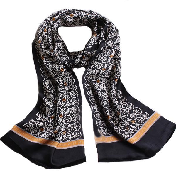 Pañuelos de seda barata Foulards De Fourrure Pura Bufanda de Seda Negro Floral Pañuelos A Cuadros de Impresión de Doble Cara abrigo de Estilo Británico