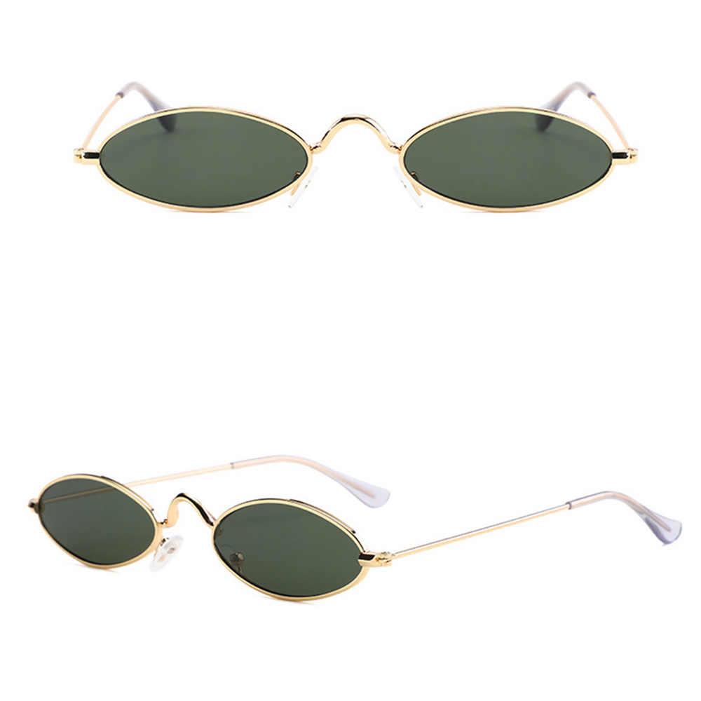แว่นตากันแดดสำหรับชาย retro กรอบโลหะสีเหลืองสีแดงขนาดเล็กรอบดวงอาทิตย์แว่นตาผู้หญิง 2019 D50