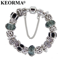 KEORMA New European Silver Color Gray Bead Charm Bracelet Beads Fit Women Bracelets & Bangles Jewelry Pulseras Mujer