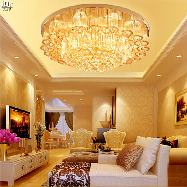 S Gold Luxury European LED Crystal Lamp Living Room Restaurant Bedroom Lights Authentic Round Ceiling