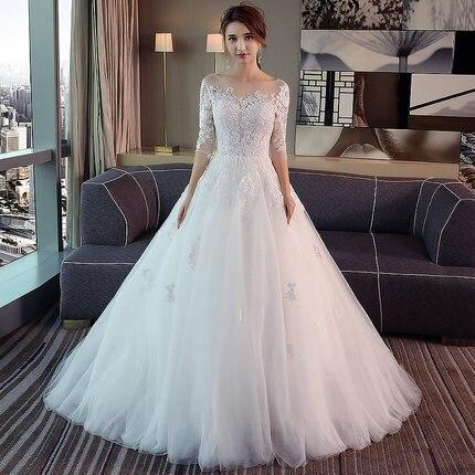 New Fashion Simple 2021 Wedding Dresses Lace Three Quarter Sleeve O-Neck Elegant Plus size Vestido De Noiva Korean Bride Gowns 3