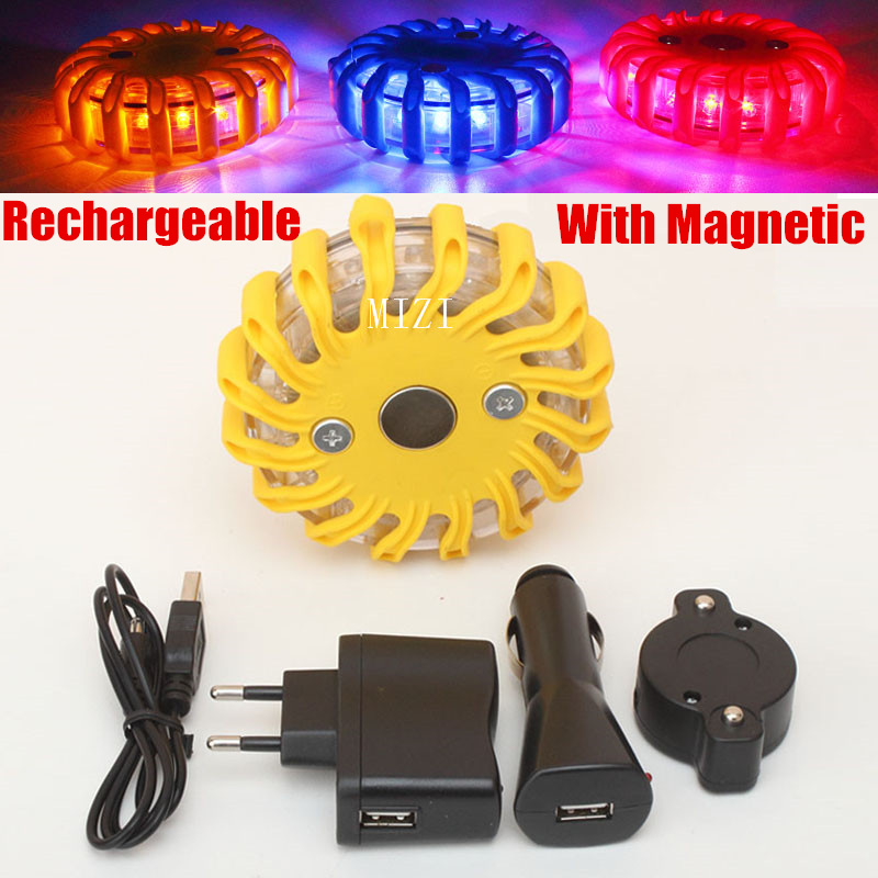 цена на Rechargeable LED With Magnetic Car Emergency Flash Lighting Vehicle Strobe Light police Warning Lights 3 colors Blue/Yellow/Red
