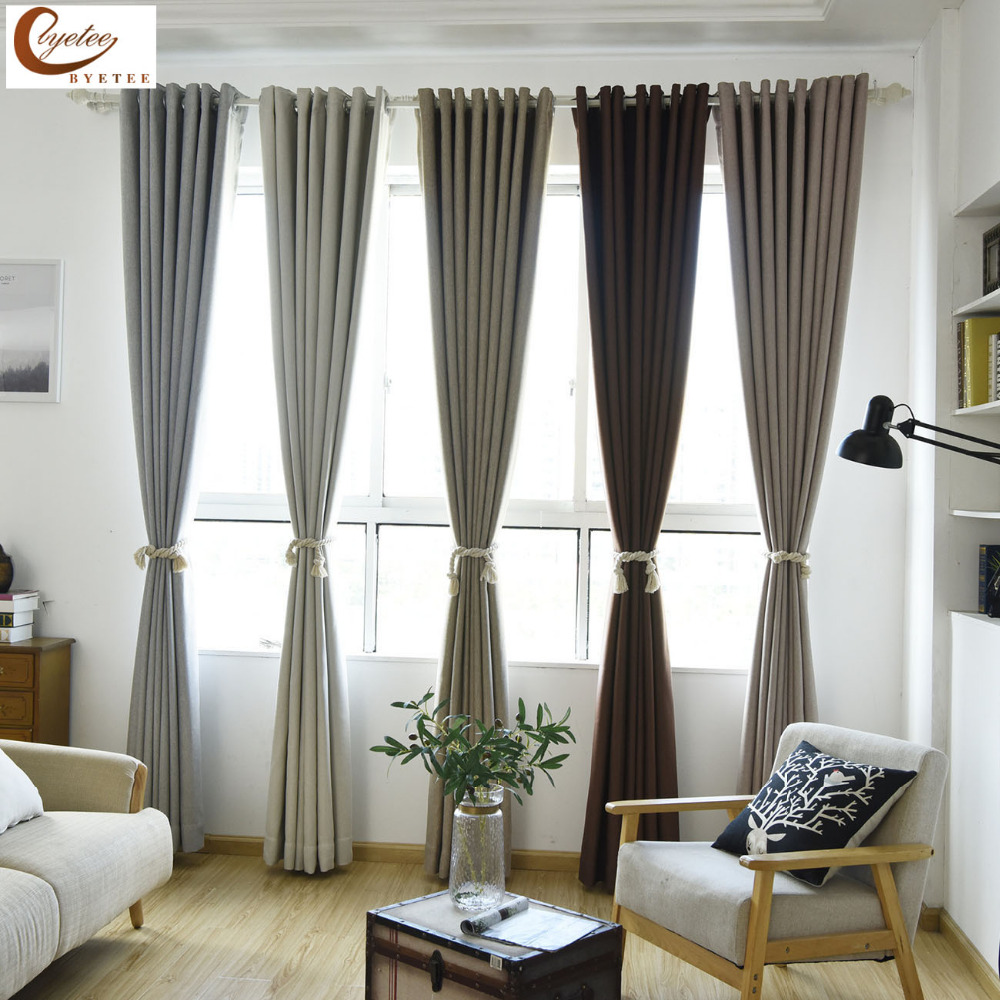 byetee] Linen Fabric Blackout Modern Drape Door Curtains Drapes For ...