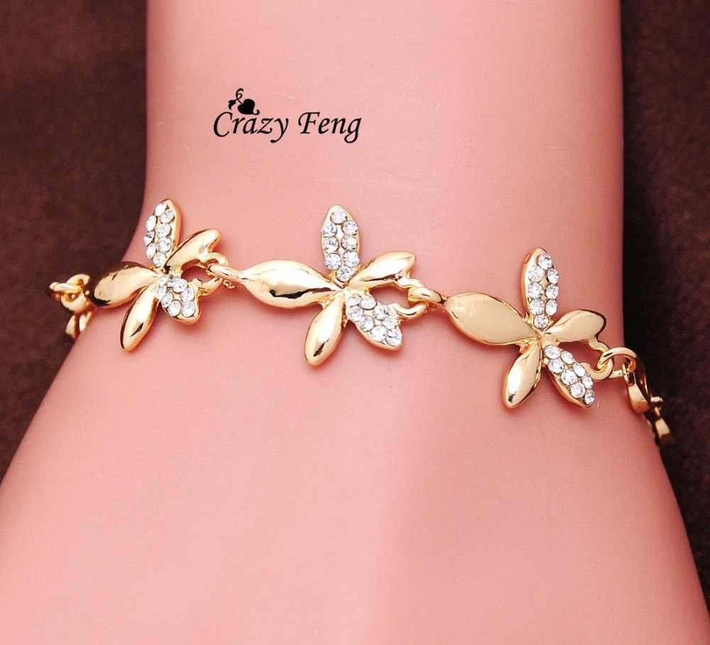 Crazy Feng Luxury Romantic Gold-color shine White Crystal Flower Charms Bracelets Bangles For Women Wedding Jewelry Gift