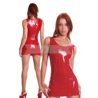 Red Latex Women Dress Sleeveless Sexy Rubber Latex Fetish Tigh Clothes Costumes Handmade BNLD079
