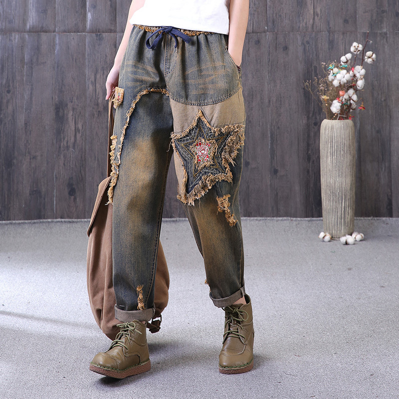 [EWQ] New Summer spring 2018 fashion tide loose pockets lace up elastic waist stars patch hole jeans women QC636