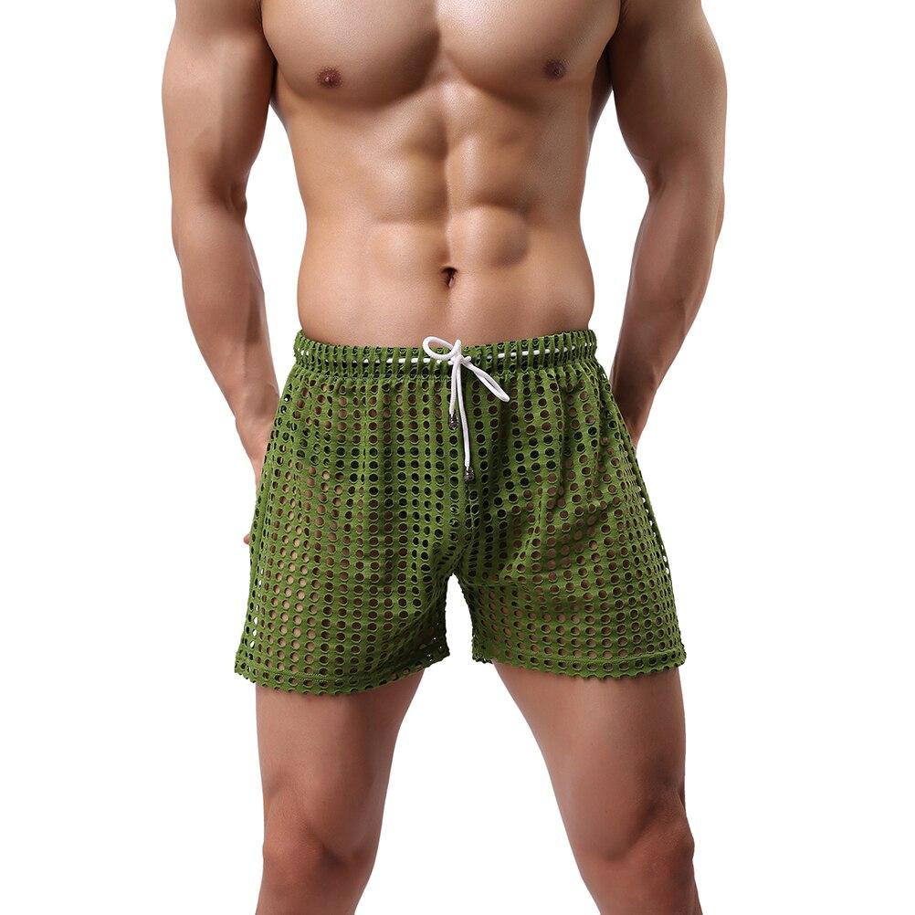 Men's Casual Shorts Men's Fashion Style Breathable Shorts Sexy Hollow Mesh Shorts Men's Short Pants