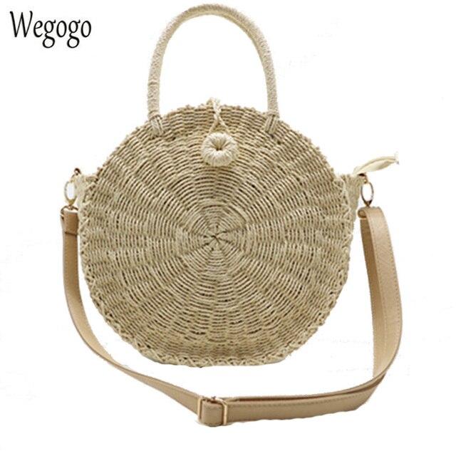 New Circle Straw Bags For Women Handmade Round Beach Bag Summer Woven  Rattan Handbags Woman Travel Messenger Bag INS Popular e34ea0e283df0