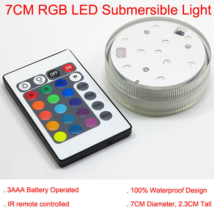 Factory Direct Deal! 20PCS/Lot Super Bright Battery Operate Remote Multicolors RGB LED 2.8inch Mini Waterproof LED Light Base image