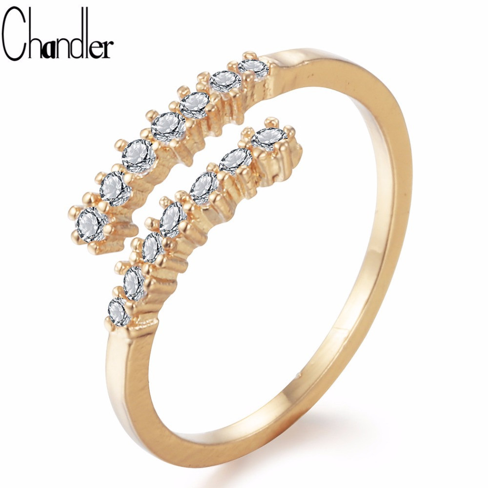 Chandler 1pcs Hot Copper Rings Crystal Ring For Women Little Finger Toe Ring Opening Wedding Band inel pentru femei Bague Anel