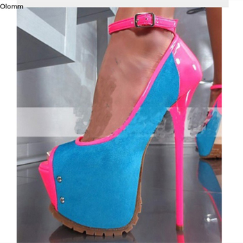 Olomm Stylish Women Platform Sandals Sexy Stiletto Heels Sandals Peep Toe Elegant Blue Party Dress Shoes Women US Plus Size 5-15