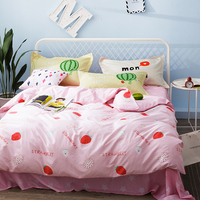 Sweet Pink Strawberry Duvet Cover Set For Adults 100% Cotton Stars Bed Sheets Pillow Case Queen Size Bedding Sets/Bed Clothes