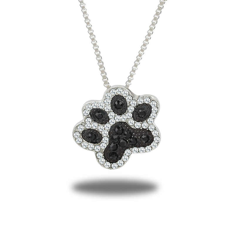 New Crystal Animal Pet Memorial Necklaces Cat Dog Puppy Paw Print Heart Shape Pendant Necklace Rhinestone  Jewelry
