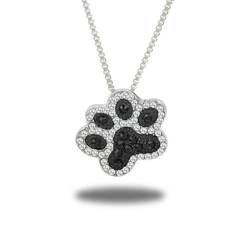 New Pha Lê Vật Nuôi Động Vật Tưởng Niệm Dây Chuyền Cat Dog Puppy Paw Print Tim Shape Pendant Necklace Rhinestone Jewelry