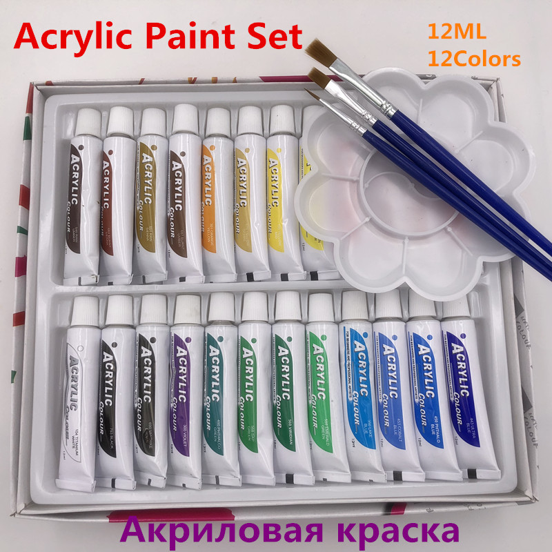 24pcs/set Paint Acrylic Paint Tube Set Nail Art Painting Drawing Tool For Artist Kids DIY Design Free For Brush And Paint Tray цена