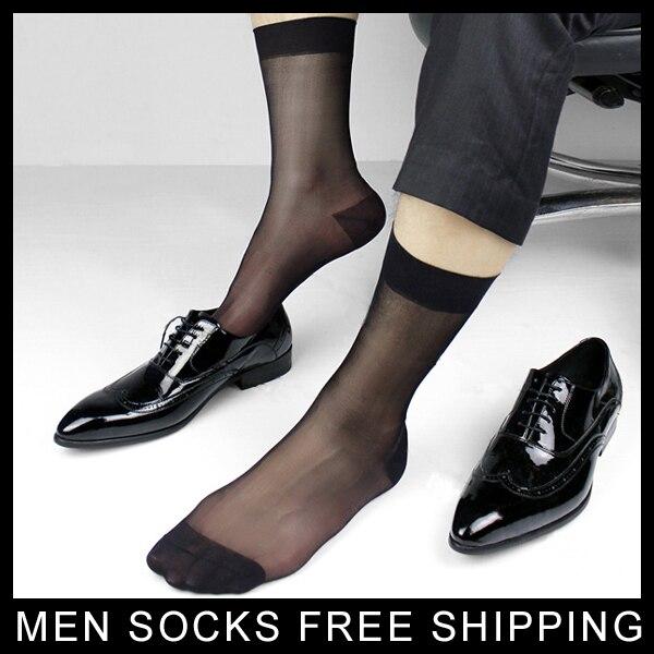 Male Suit dress Sexy silk Socks Sheer Mens Formal Socks Best quality Man At play Transparent men socks  Black Navy