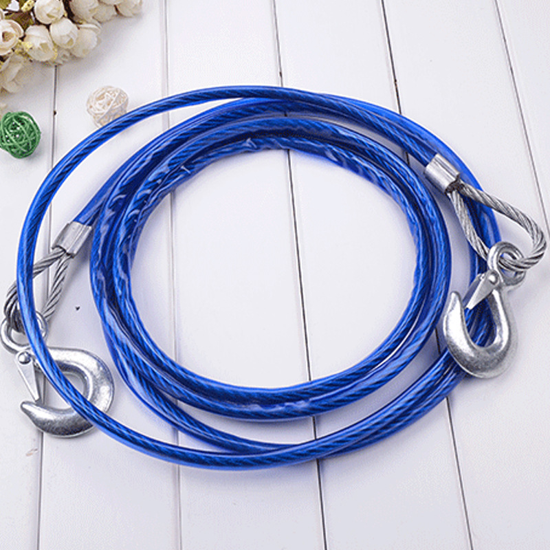 4M 5 Tons 5M 7 Tons Pull Heavy Duty Tow Ropes  Wire Cable High Strength Safety Hook Steel Wire Trailer Car Emergency Towing Rope
