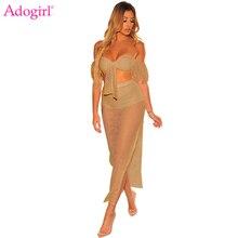 Adogirl Sexy Hollow Out Mesh Two Piece Set Summer Beach Dress Strapless Short Lantern Sleeve Crop Top High Slit Maxi Skirt Suits