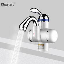 Kbxstart 220V Heated Faucet With Water Heating Tiny Size Bathroom Banheiro Electric Instant Hot Heater Tap 180 Rotation