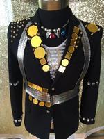 Новая мода Прохладный Мужской объектив зеркало черного цвета с заклепками куртка для выступления Nigthclub выступлений пальто узкого кроя для
