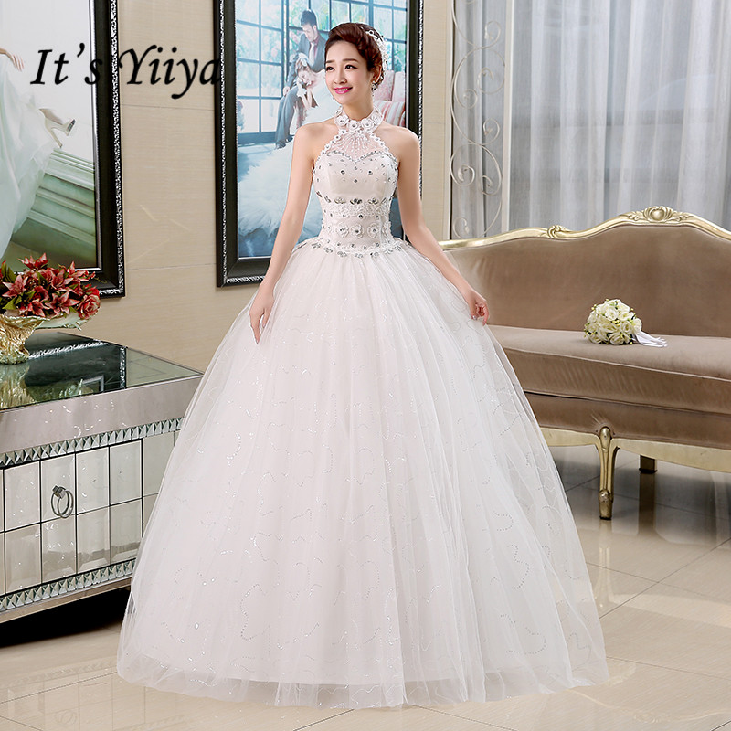 It's YiiYa Wedding Dress Halter Beading Illusion White Wedding Dresses Bridal Sleeveless Floor Length Princess Ball Gown HS135