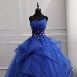 Image 2 - Formal Evening Dresses Long Gown Girls Elegant Blue White Strapless Sleeveless Priness Evening Dresses for party New Design