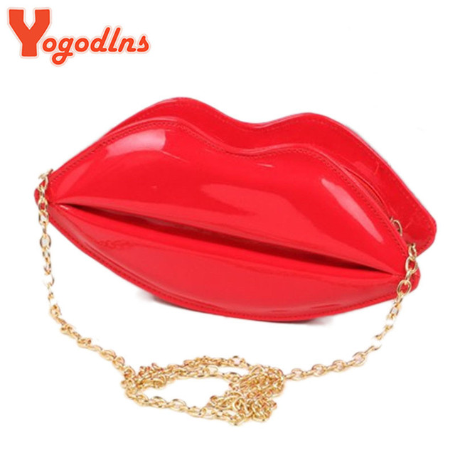 Yogodlns fashion women leather handbag cartoon messenger bag shoulder sexy jelly gloss day shoulder clutch evening bag red lips
