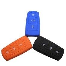 Силиконовый Дистанционного Дело Обложка Держатель Защита Сумка Пригодный Для VW 3 Кнопки Smart Key B6 B7 Magotan Passat CC С логотип