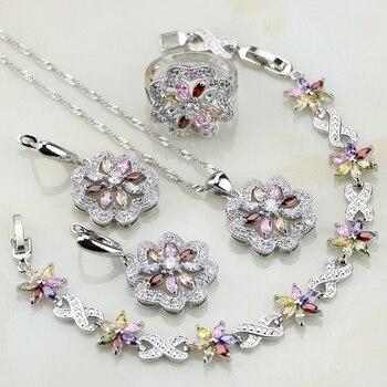 e4469501f193 Conjunto de joyas de plata 925 circonita Multicolor de flores para mujer  pendientes de boda colgante anillo pulsera collar
