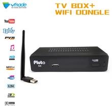 Caixa completa da tevê do apoio h.264 MPEG 2/4 dvb da tevê do receptor de satélite de hd completo de vmade s2 pluto s9 com dongle de wifi