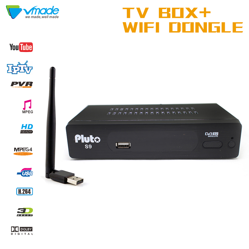 TV receiving equipment Vmade S2 Pluto S9 FULL HD Digital satellite Receiver Support H.264 MPEG 2/4 DVB TV Box with WIFI Dongle-in Satellite TV Receiver from Consumer Electronics