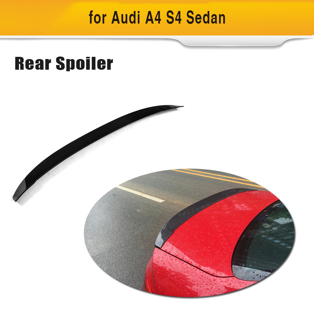 Rear Trunk Lip Spoiler Wing For Audi A4 S4 Sedan 2017 2018 Carbon Fiber Rear Boot Lip Wing