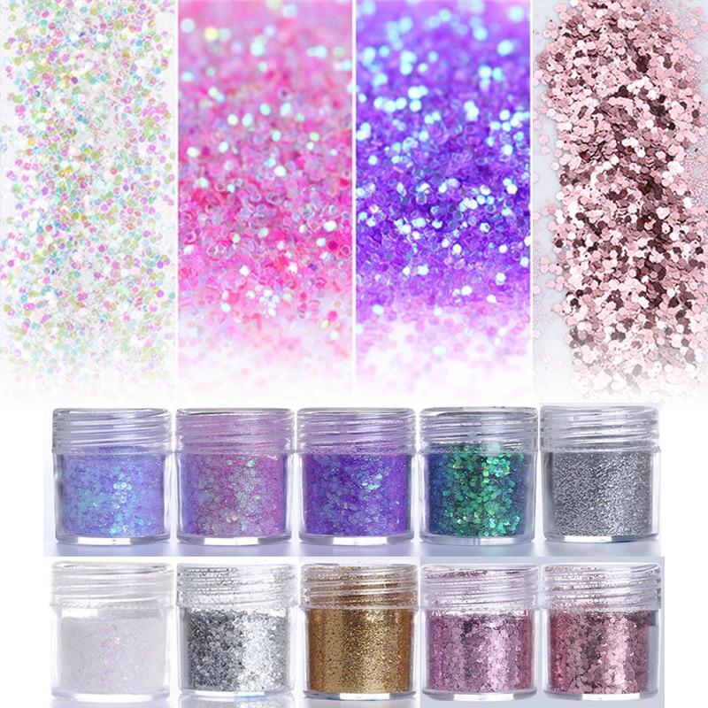 где купить Pink Purple Mixed Nail Glitter 10ml Hexagon Shape Nail Art Powder Glitters for Art Glitter Powder Dust Sheets Tips 1 Box по лучшей цене