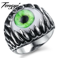Casual Real Stainless Steel Opal Ring Men S Big Eyes Finger Rings For Man High Quality