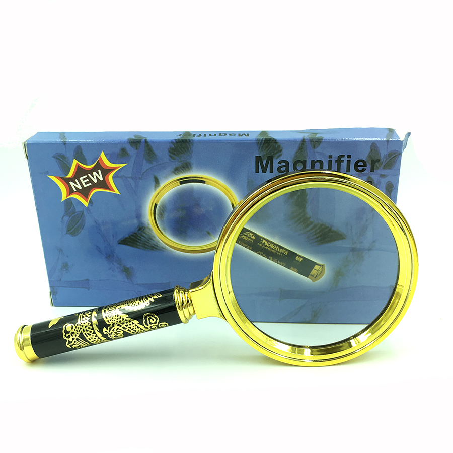 Chinese Dragon 80mm Handheld 8X Magnifier Magnifying Glass Loupe Reading Jewelry 1SLE