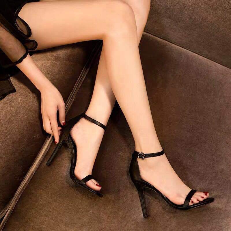 New open toe word buckle stiletto sandals female fairy summer net red wild high heels ladies sandals