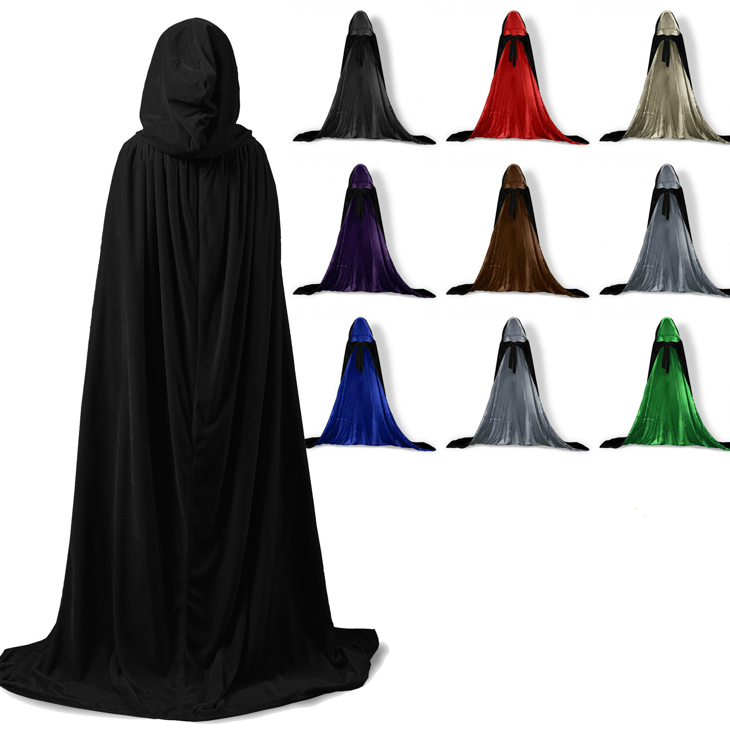 Black//Red//Purple Kids Halloween Masquerade Hooded Cape Cloak Coat Shawl Party